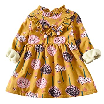 Feixiang Ropa para niños niña de Manga Larga más Terciopelo Vestido cálido Diente de león Estampado