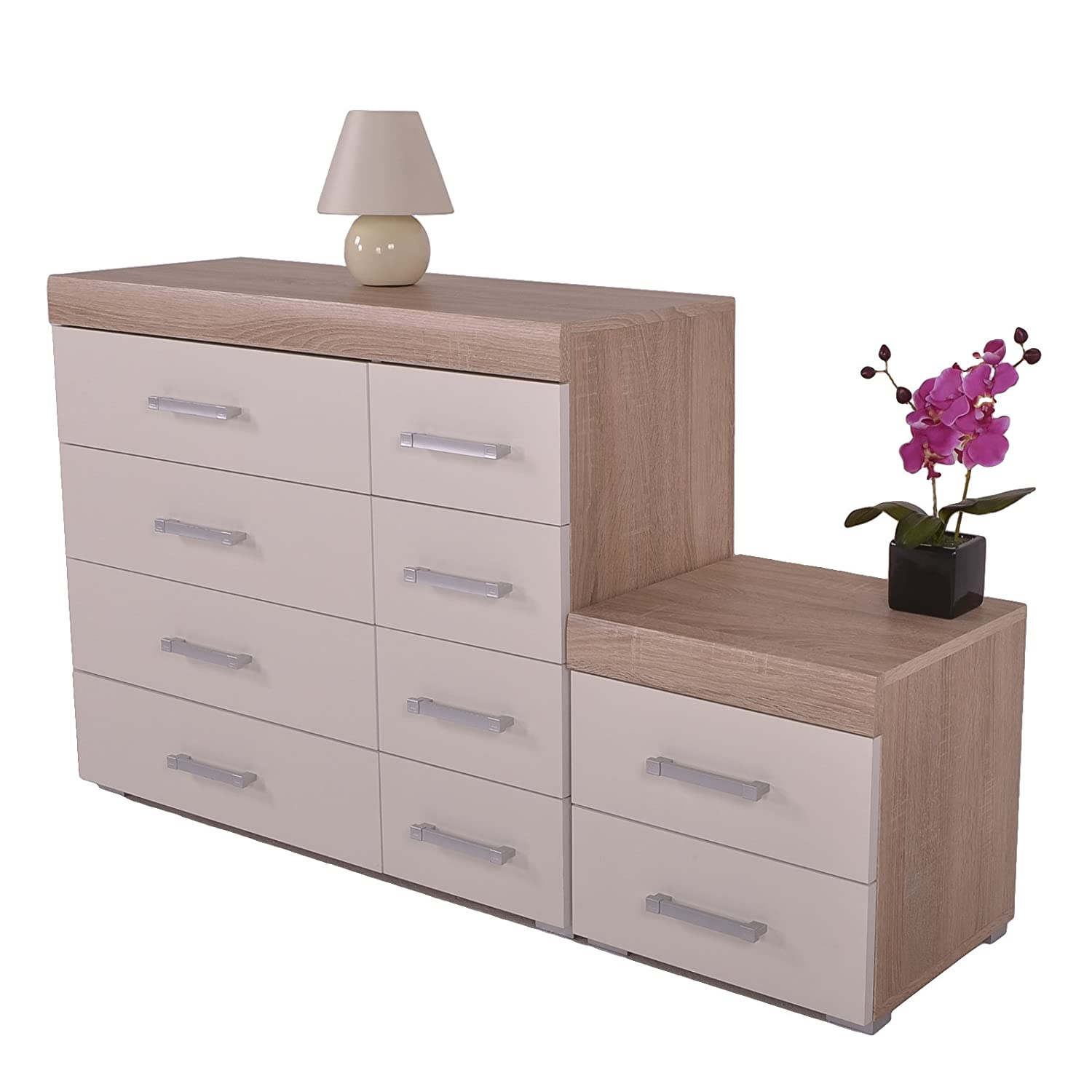 DP White & Oak 4+4 Drawer Chest & 2 Drawer Bedside Cabinet Bedroom Furniture 8