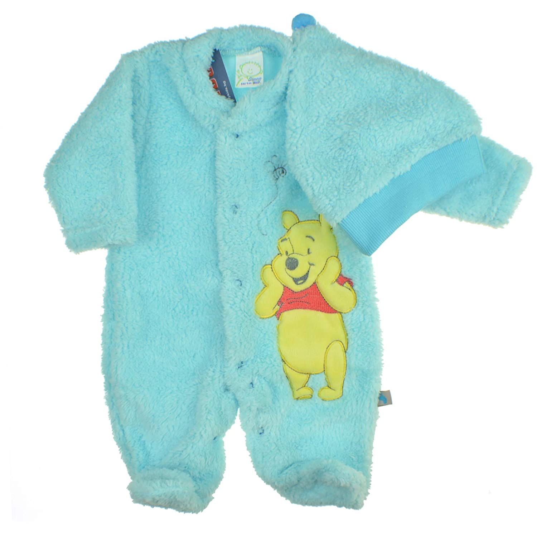 Winnie The Pooh Jungen Sunny Kids Baby Strampler Overall Langarm Baumwolle Winter Blau Hut Fleece