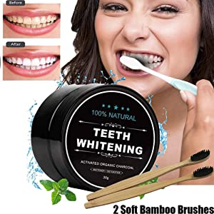 Activated Charcoal Natural Teeth Whitener 100% Organic No Hurt on Enamel Teeth Whitening Charcoal Powder Made for Stains, Tartar, Yellow Teeth,Bad Breath and Sensitive Teeth
