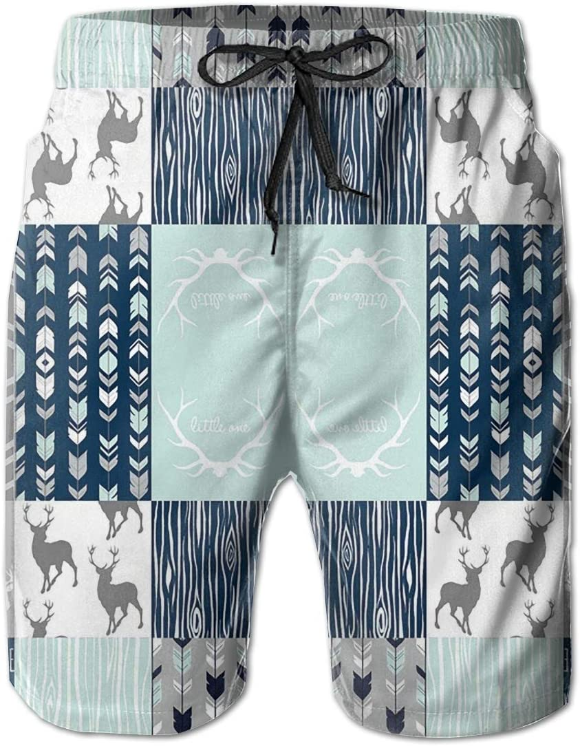 Xk7@KU Mens Quick Dry Swim Trunks Polyester American Flag Deer Skull Board Shorts with Pockets