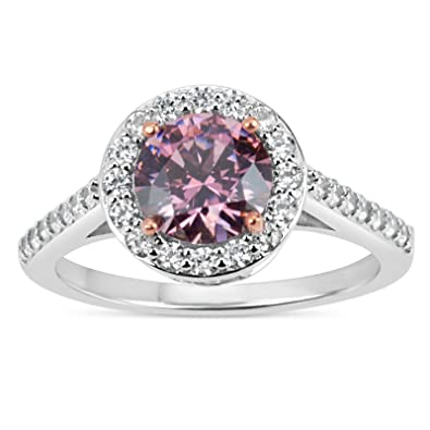 ea93cc2a4f Sterling Silver And 18k Rose Gold Over Sterling Silver Round Pink Cubic  Zircronia Ring, Featuring
