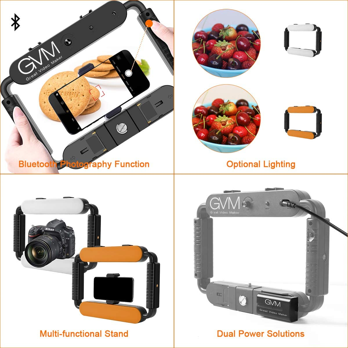 GVM 5600K Selfie Cell Phone Ring Light YouTube Makeup Self-Portrait Shooting with Bluetooth Smartphone Video Rig /& Phone Video Stabilizer for Camera Smartphone