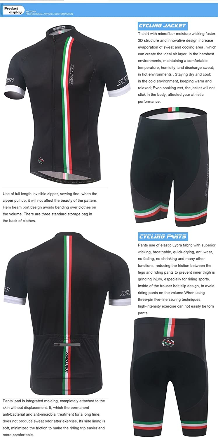 2036bd32c BESYL Unisex Black Red White Green Lines Printed High-Performance Mesh Cycling  Clothing Kit
