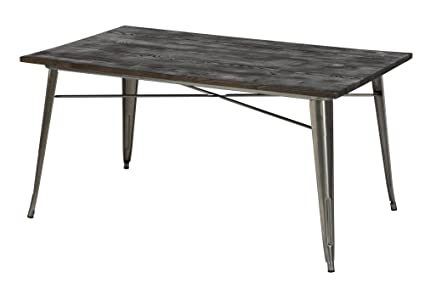 9819a20c78cea Amazon.com  DHP Fusion Metal Rectangular Dining Table with Wood ...