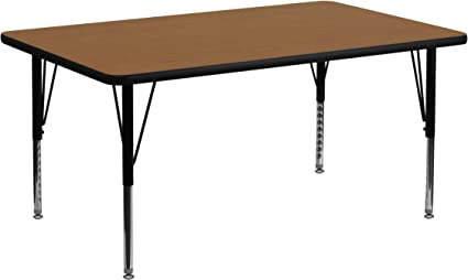 Standard Height Adjustable Legs Flash Furniture Mobile 48 Round Oak Thermal Laminate Activity Table