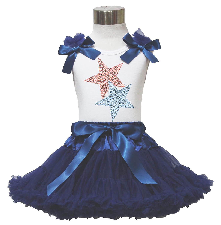 4th July Rhinestone Patriotic Star White Top Navy Blue Pettiskirt 1-8y