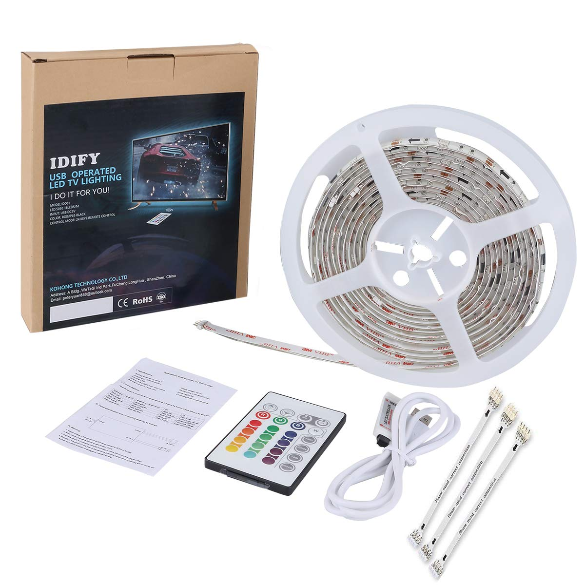 LED Strip Lights for 55 60 inches Back of TV Decor USB Operate 11.28ft Waterproof RGB Backlighting with 20 Colors Changing Remote (White 55'' 60'') by IDIFY (Image #7)