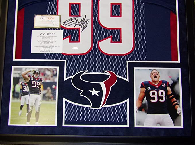 JJ Watt Houston Texans Autograph Signed Custom Framed Jersey Suede Mat  Tristar Authentic Certified at Amazon s Sports Collectibles Store 147cbce23