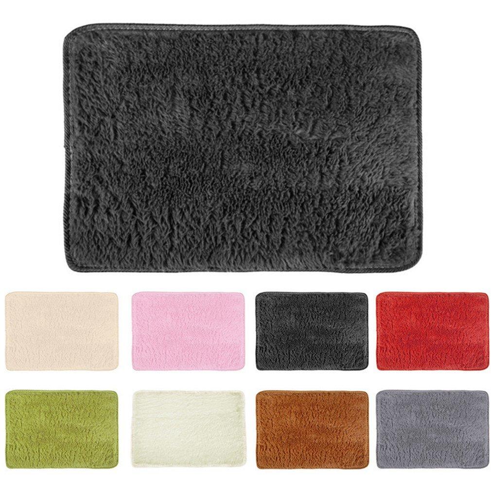 Super Soft Long Plush Silky Mat Carpet Mat Door Rugs Area Rug For Bedroom Living Room Bathroom 4 40x60cm by CHOUHOC (Image #3)