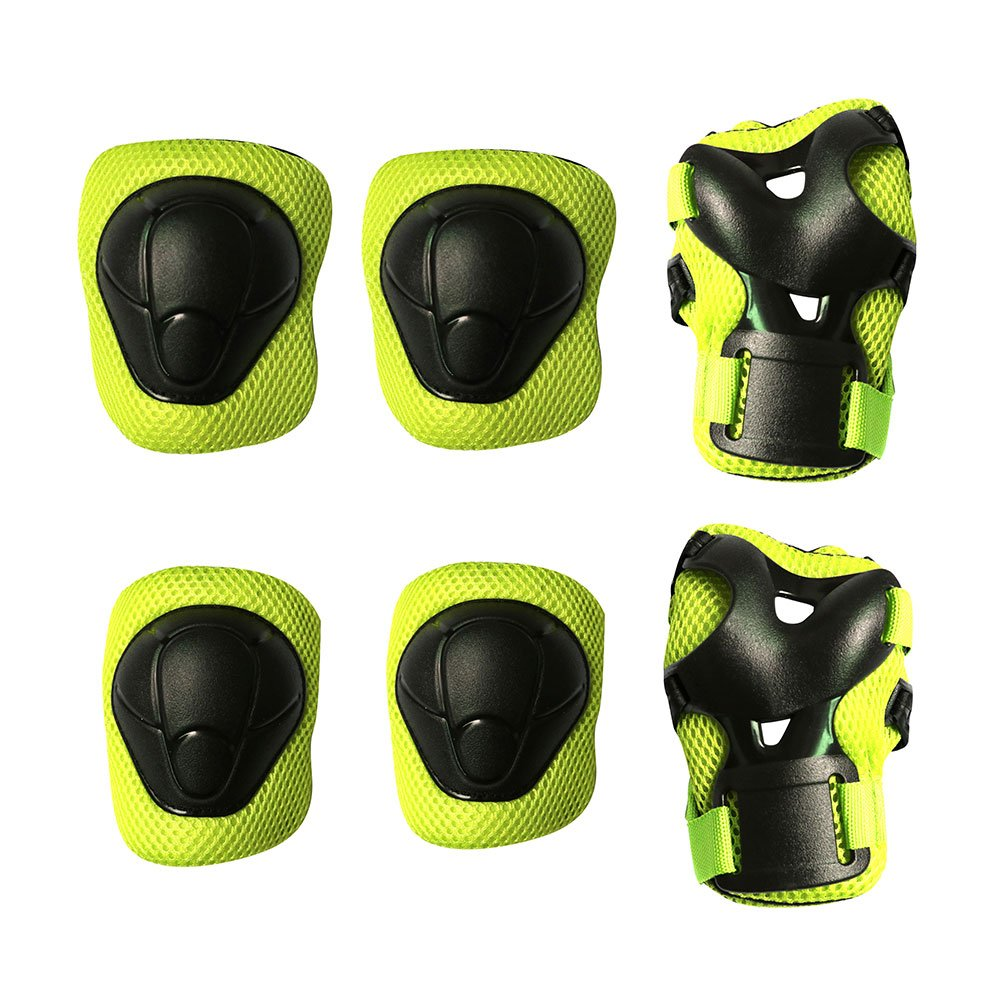Kids Protective Pads MAXZOLA Knee Pads Elbow Pads Wrist Guards 3 In 1 Protective Gear Set (Green)
