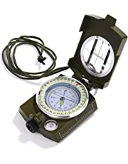 Compass Waterproof Shockproof Hiking Military Navigation Compass with Pouch Lanyard, Zinc Alloy Material, English User Guide Included