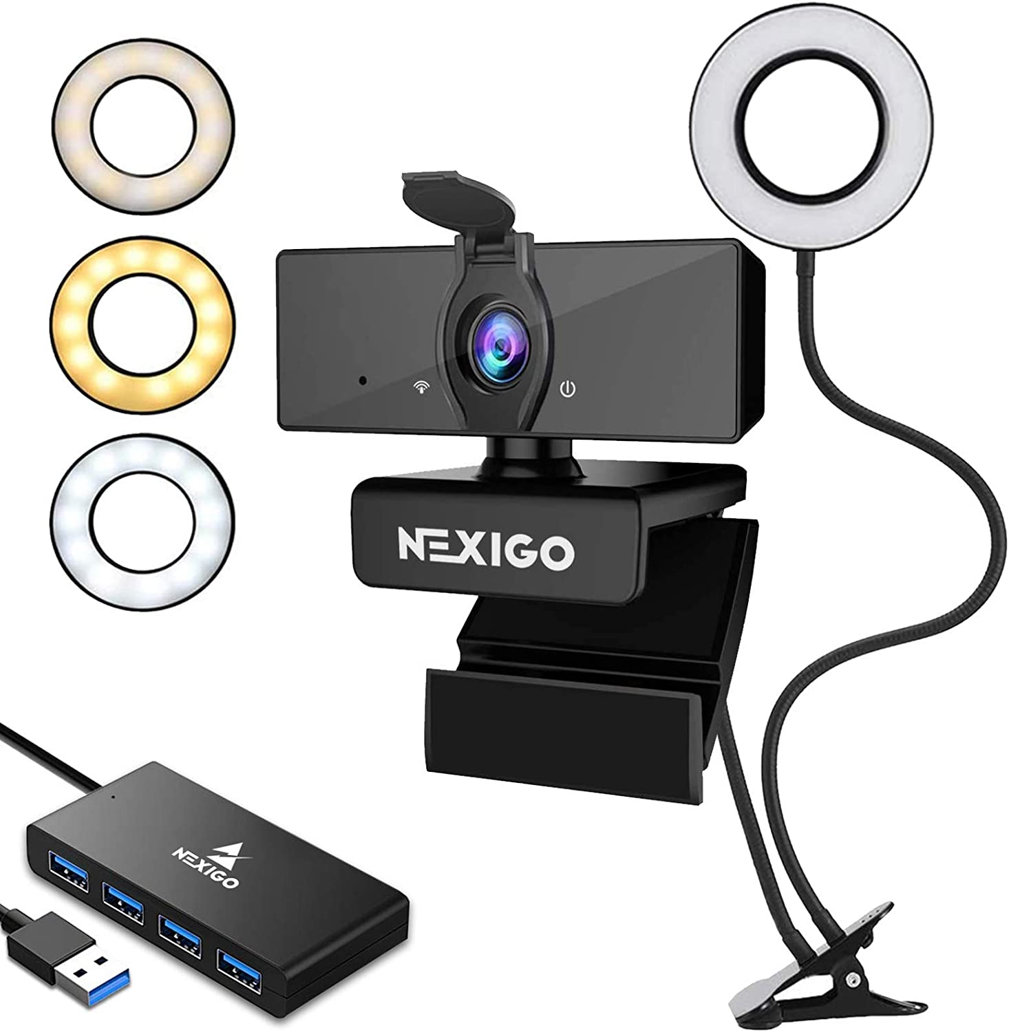 2020 Streaming Kit, 1080P Webcam with 2ft 4-Port USB 3.0 Hub, Microphone, 3.5 Inch Selfie Ring Light, Mount Stand, and Privacy Cover, for Online Class, Zoom Skype MS Teams, PC Mac Laptop Desktop