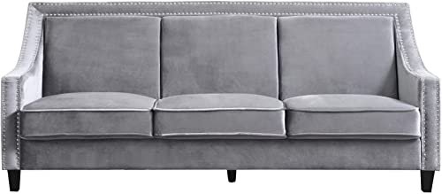 Iconic Home Camren Sofa Velvet Upholstered Swoop Arm Silver Nailhead Trim Espresso Finished Wood Legs Couch Modern Contemporary