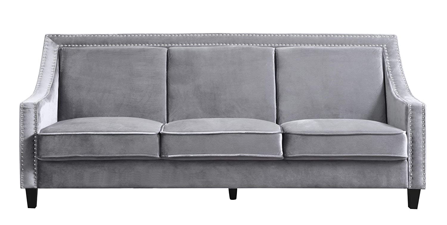 Amazon com iconic home fsa9001 an camren sofa velvet upholstered swoop arm silver nailhead trim espresso finished wood legs couch modern contemporary