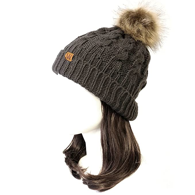 1550ec87 Wrapables Winter Warm Cable Knit Faux Fur Pom Pom Beanie, Adult Charcoal  Gray
