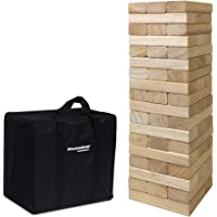54 Piece Large Wood Block Stack & Tumble Tower Toppling Blocks Game– Great For Game Nights For Kids, Adults & Family…