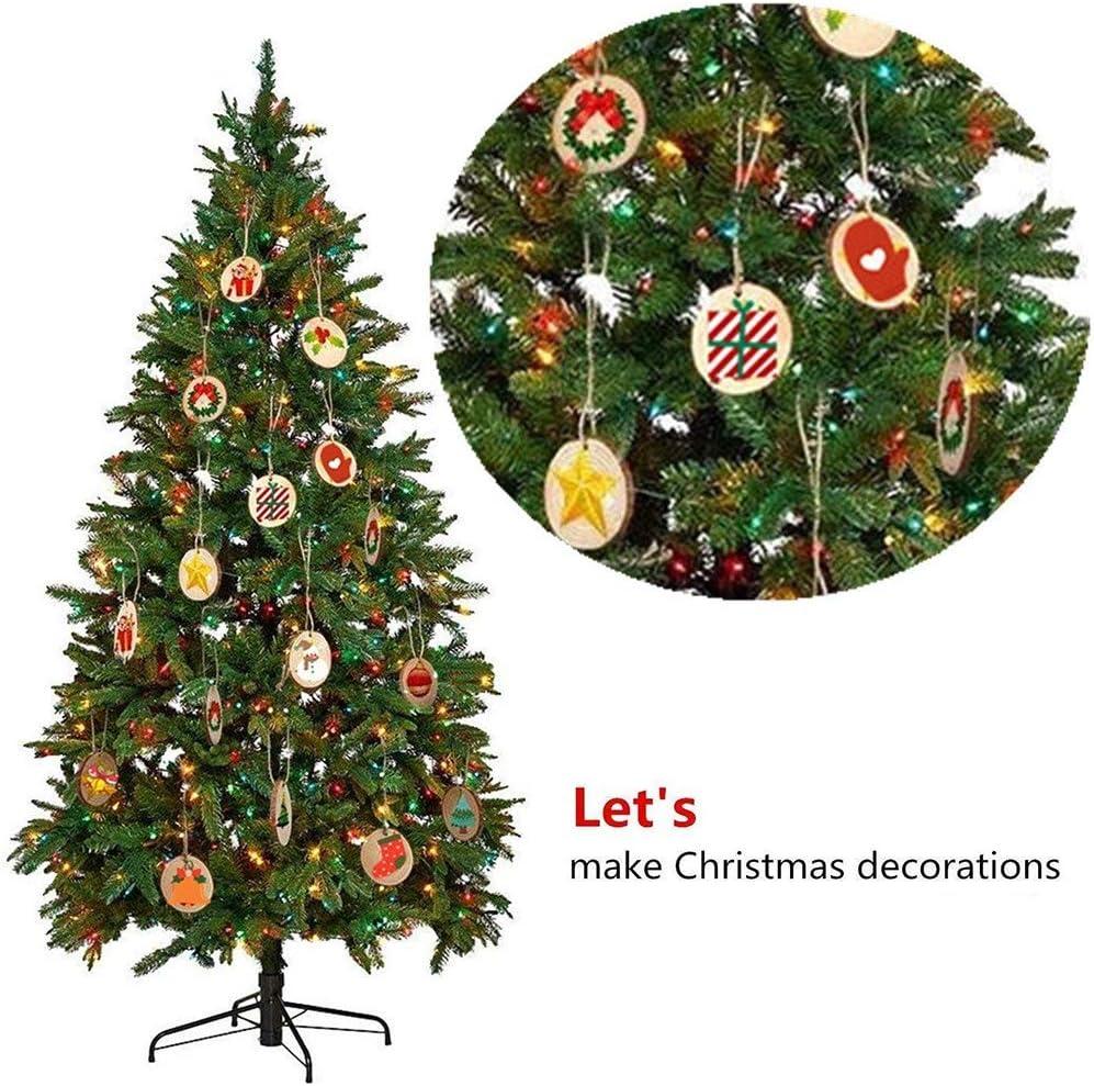 30 con Corda Iuta Adatti per Natale Fai da Te Decorazione di Matrimonio Ornamento di Natalizi MINGZE Legno 30 Pezzi Diametro 6-7cm Dischi Legno Naturale con Foro