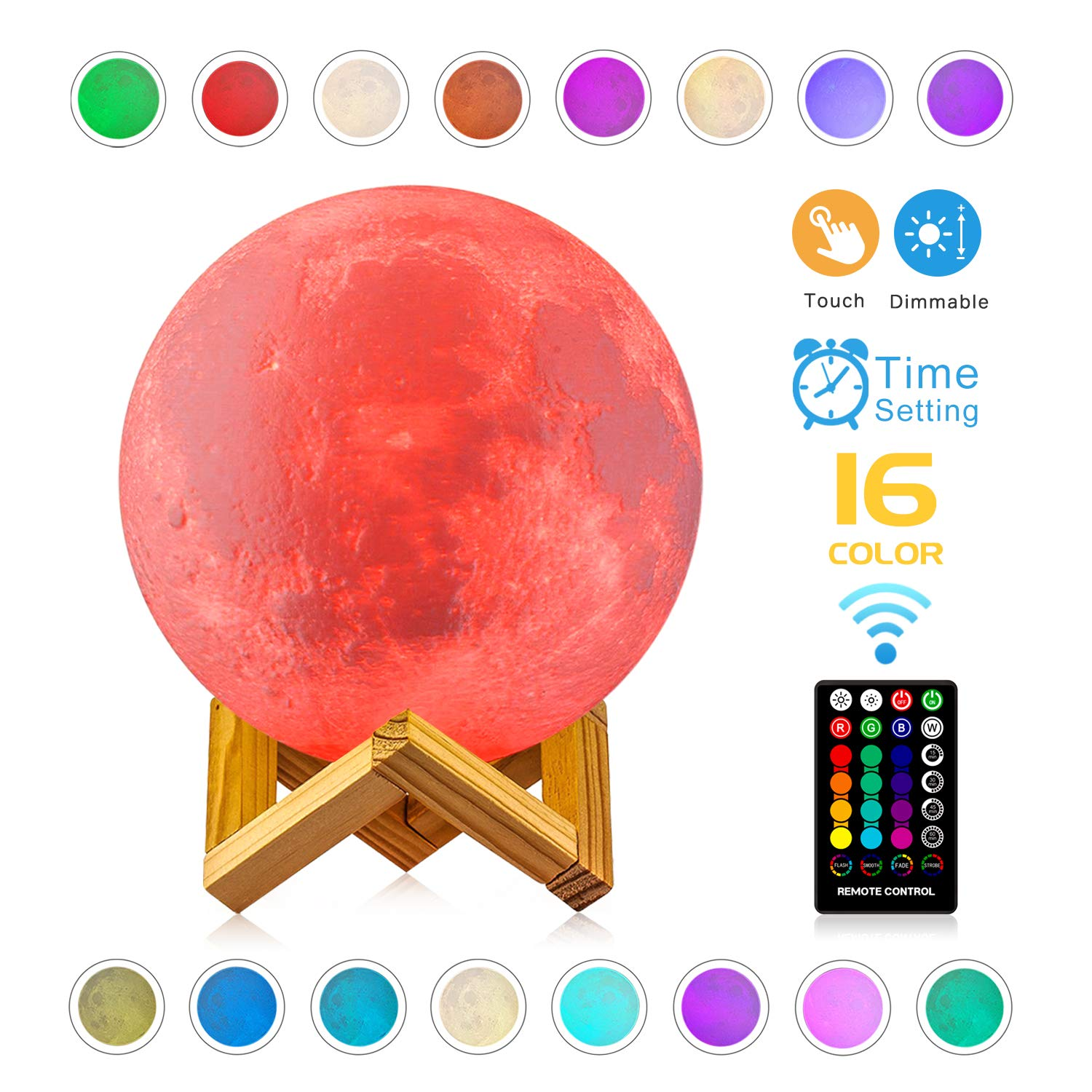 Moon Lamp - LOGROTATE 16 Colors, Dimmable, Rechargeable Lunar Night Light (5.9 inch) Full Set with Wooden Stand, Remote & Touch Control - Cool Nursery Decor for Baby, Kids Bedroom, Birthday Day Gifts