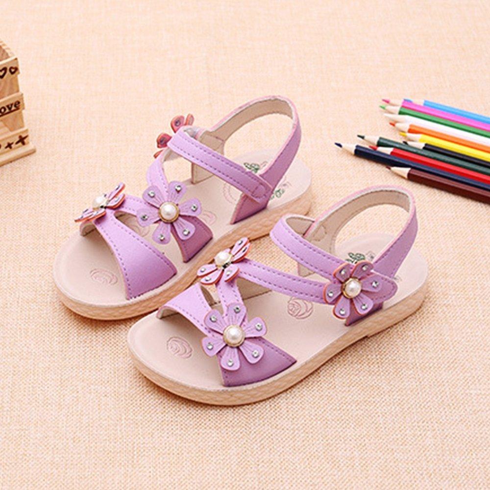 YING LAN Girls Open Toe Beach Sandals Summer Fashion Flower Sandals Princess Flats Sandals