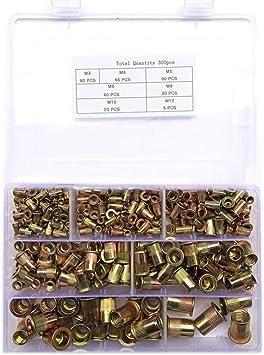 Blindnietmuttern Set Stahl Flachkopf M3  M10 Nietmuttern Gewindenieten 300 Stück