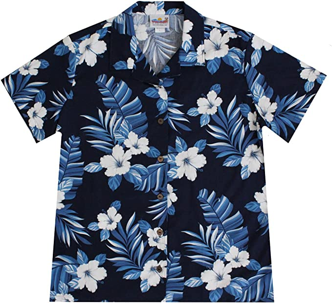 Short Sleeve Tops Blouse for Women Womens Hawaii Word with Hibiscus Flowers Crop Tops Shirt