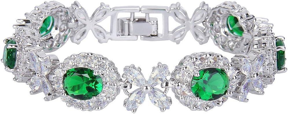 Ever Faith Floral Leaves Water Drop Necklace Earrings Bracelet Set CZ Elegant for Wedding Women