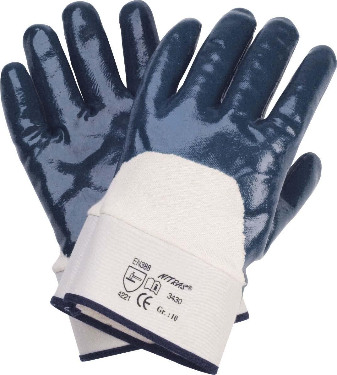 144 Paar Nitril-Handschuhe / Arbeitshandschuhe Nitril/Segeltuch-Stulpe, teilbesch. blau, Gr. 10, EN 388 KAT.2 Hembeck