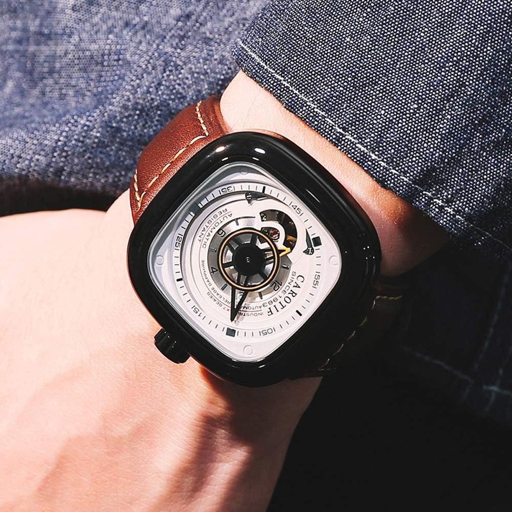 Guarda Orologio da polso da uomo leggero da uomo in pelle a carica automatica meccanico automatico con cinturino alla moda JFYCUICAN 04white