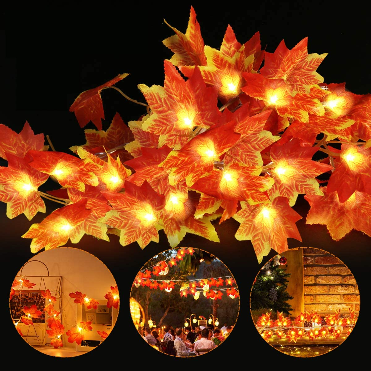 2 Pack Fall Maple Garland, 9.5ft/Piece Thanksgiving Decor Fall String Lights Maple Leaf Garland with 40LED , Waterproof Thanksgiving Decorations for Indoor Outdoor Party Christmas, Fall Decor for Home