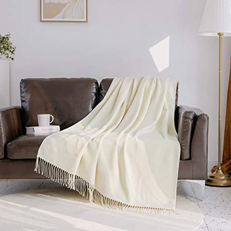 Veeyoo Ivory Throw Blanket For Couch Ivory Knit Throw Blanket With Tassels Decorative Soft Knitted Blanket Throw 50x65 Inch Home Kitchen