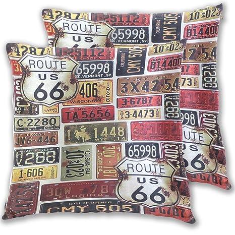 Gaz X ROUTE-66-Vintage Terciopelo Suave Decorativo Cuadrado ...