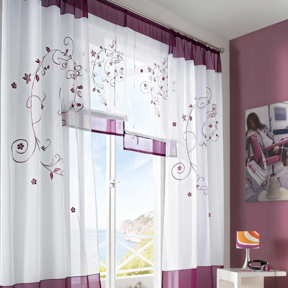 Fastar cortinas salon modernas cortinas pastorales de bordado para ...