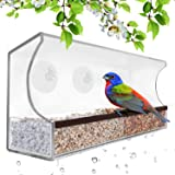 Natural Wild Birds Outdoors Window-Bird-Feeder with 3 Super Strong Suction Cups & Sliding Tray, Large, Clear Acrylic, Easy Clean, Outdoor Bird Feeders