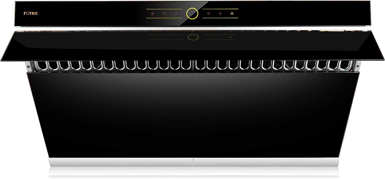 "FOTILE JQG9001 36"" Range Hood | Unique Side-Draft Design for Under Cabinet or Wall Mount | Modern Kitchen Vent Hood | Powerful Motor | LED Lights | Onyx Black Tempered Glass Surface"