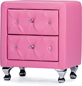Baxton Studio Caressa Crystal Tufted Pink Leather Nightstand, Medium