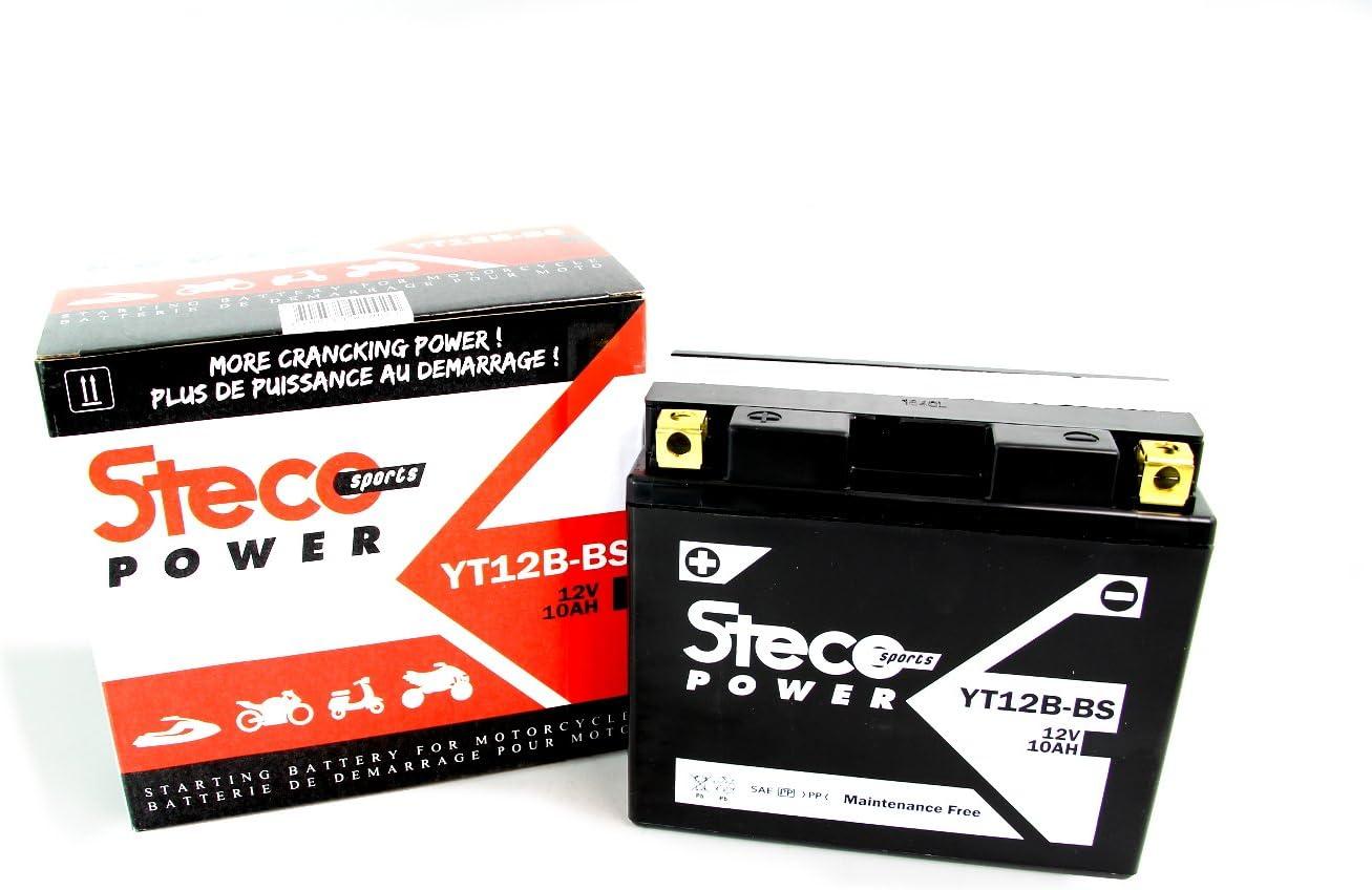 Batería sin mantenimiento YT12B-BS 10Ah Yamaha TDM 850 1996-2001, TDM 900 2002-2014, XJ 6 2009-2016, XJ 6 ABS 2009-2016 (Steco Power)