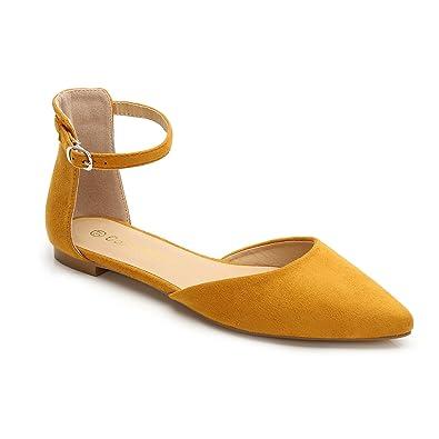 81c144f745e09 ComeShun Womens Shoes Comfort Ankle Strap D'Orsay Classic Flat Dress Pumps  (39 EU/8 US, Yellow)