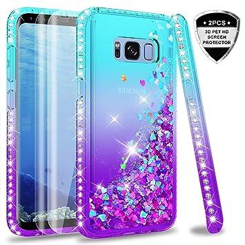 LeYi Compatible with Funda Samsung Galaxy S8 Silicona Purpurina Carcasa con [2-Unidades] 3D Curvo Pet Pantalla,Transparente Cristal Bumper Telefono ...