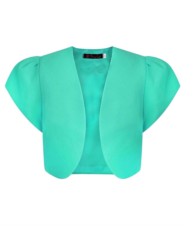LotMart Girls Elegant Short Cap Sleeve Cropped Chiffon Bolero Shrug Kids Plain Top