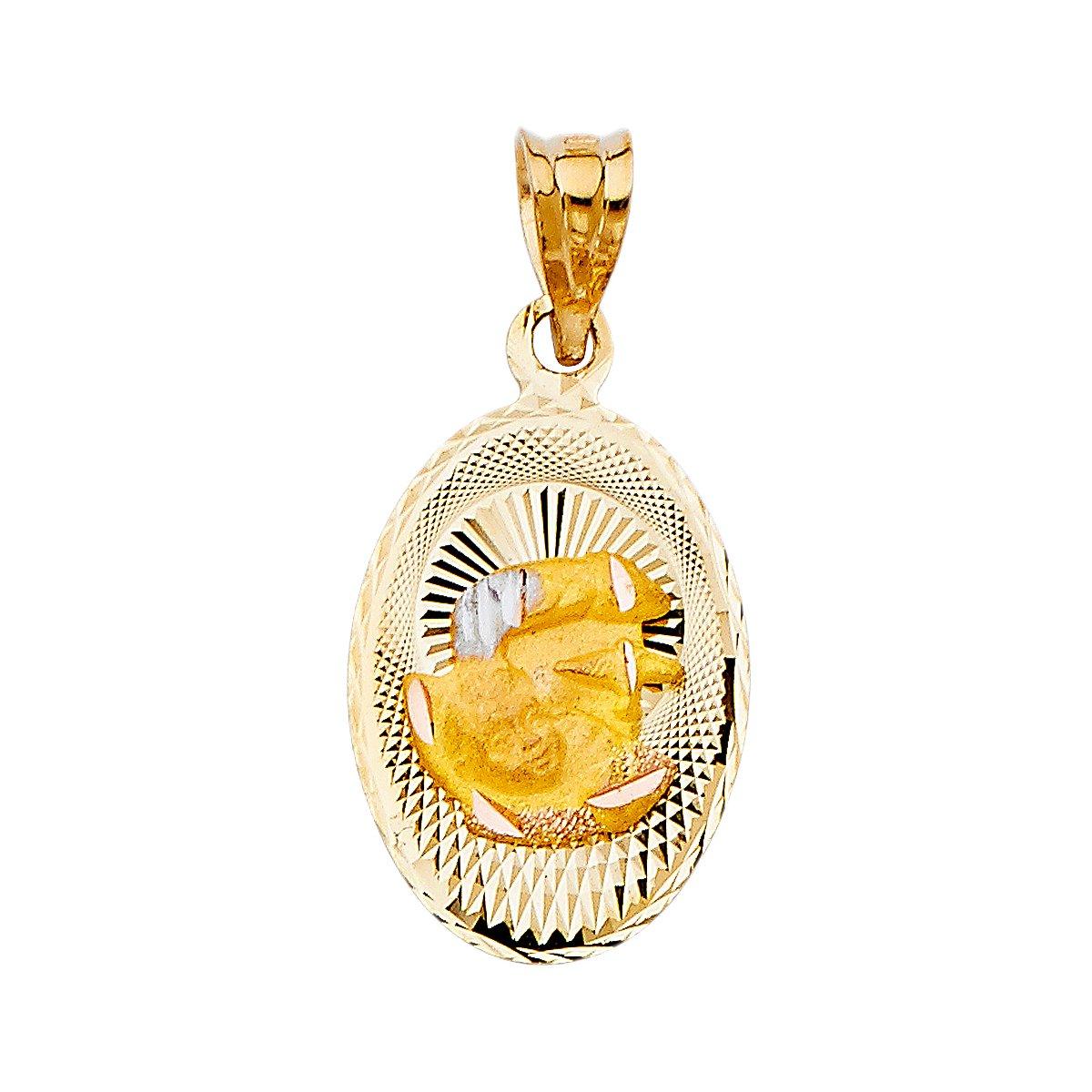 14k Tri-Color Gold DC Baptism Stamp Religious Pendant Charm