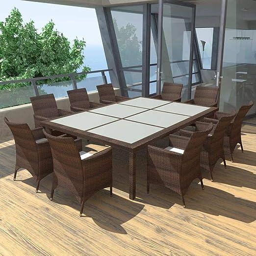 Festnight Poly Ratán Muebles de Jardín Exterior para 10 Personas Estructura de Acero Impermeable y Resistente a la Intemperie Color Marrón Conjunto Mesa y Sillas Terraza: Amazon.es: Jardín