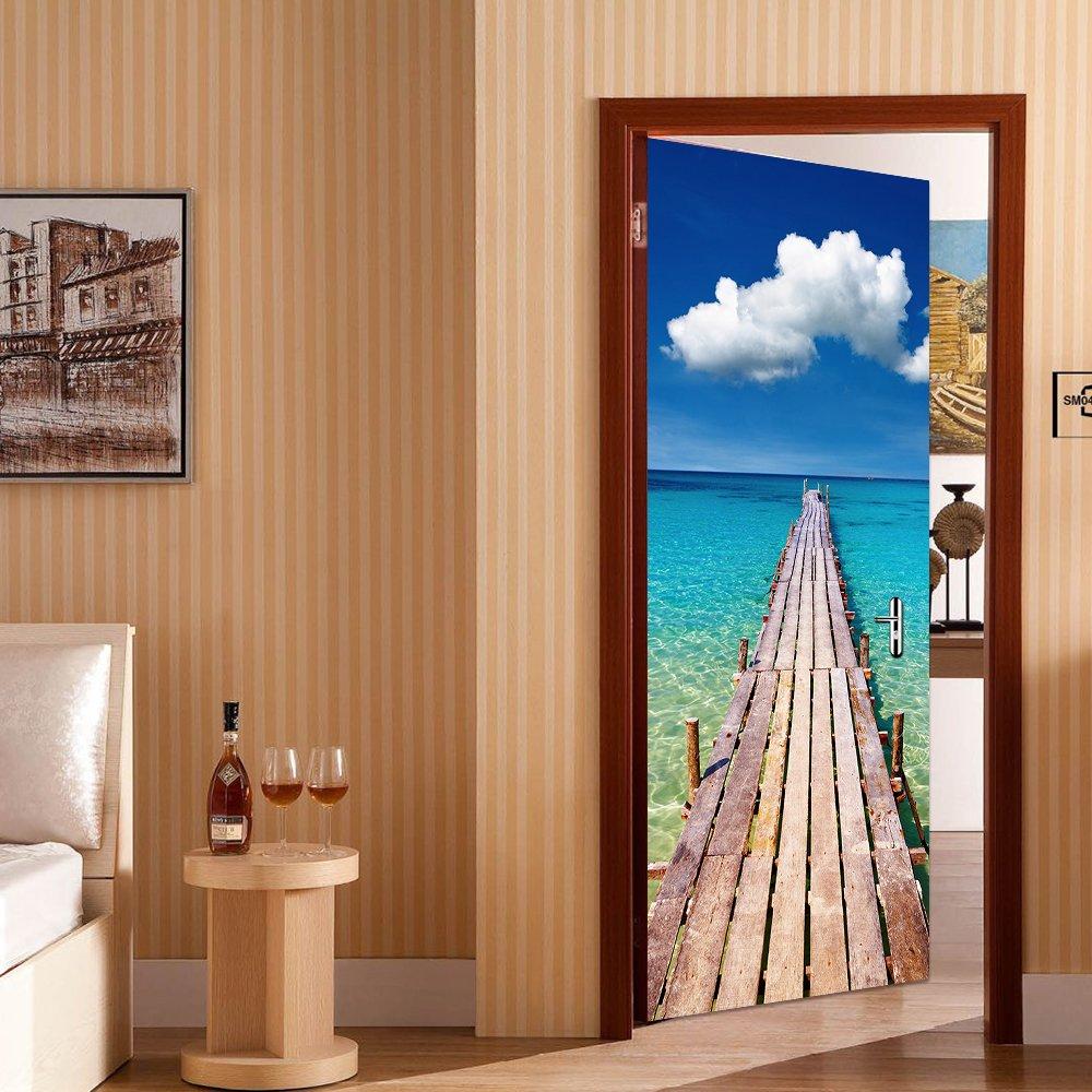 Yongqiang 3D Etiqueta De La Puerta Pegatina De Pared,Sala Cuarto Decoración Mural Pegatina,Muelle De Madera Junto Al Mar Papel Pintado Autoadherente ...