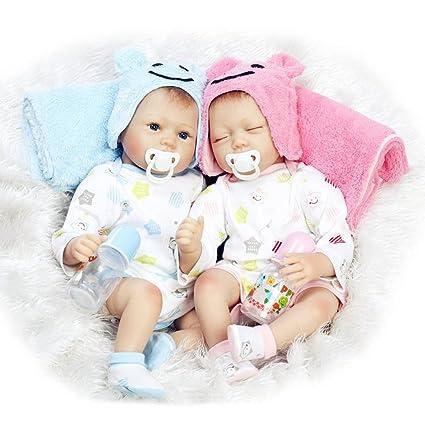 O-YLS Reborn Muñeca Bebe de Silicona Suave 22inch 55cm magnetica Boca Precioso Realista Linda Gemelos Niña Niño