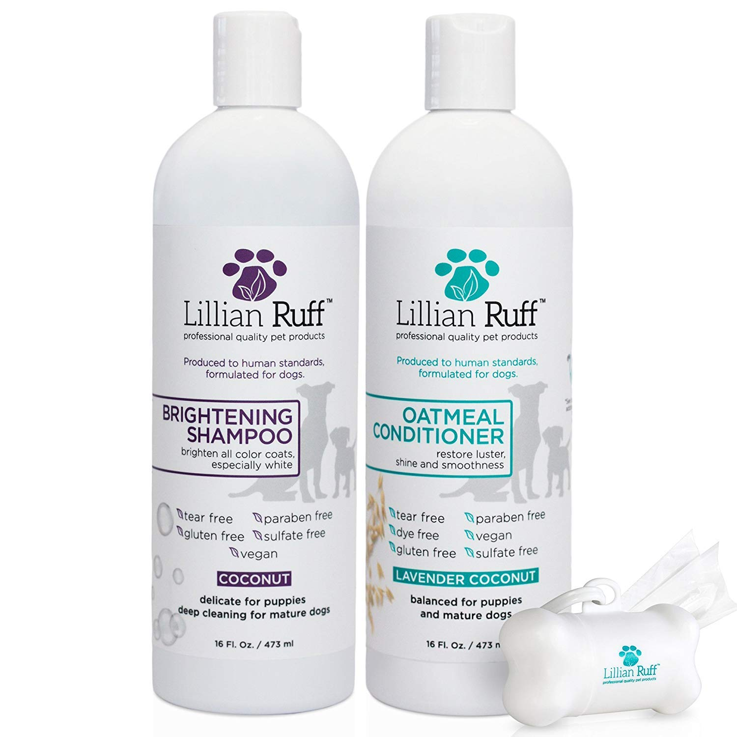 Lillian Ruff Dog Shampoo Conditioner Set - Safe for Cats - Coconut Brightening Shampoo & Soothing Lavender Coconut Oatmeal Conditioner - Tear Free with Aloe for Normal, Dry & Sensitive Skin (16 oz.)