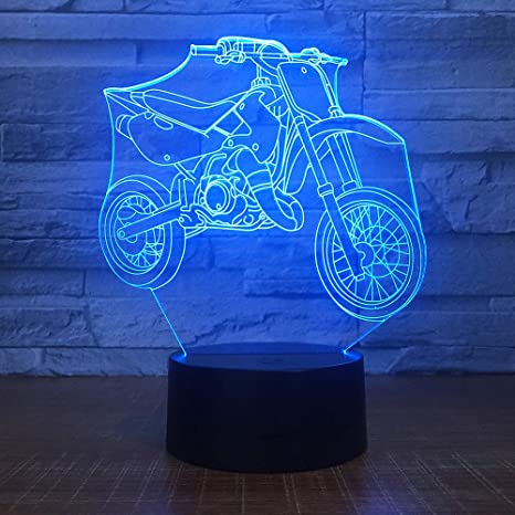 Motocicleta LED 3D Night Light 7 colores cambiables USB ...
