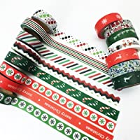 TrueM 5 Rolls Xmas Christmas Washi Tape, DIY Scrapbooking Decorative Tape, Masking Tape, Planner Tape, Craft Gift Decoration Tape Stickers