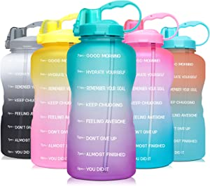 Venture Pal 64 OZ Water Bottle with Motivational Time Marker & Straw - Leakproof BPA Free Reusble Flip Top Water Bottle for Sports and Fitness Enthusiasts