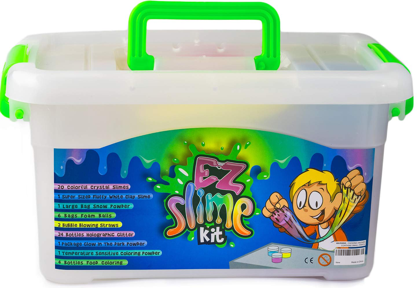 EZ Slime Kit- Boys Girls Everyone. Crystal Slime, Fluffy Clay Slime, Fake Snow, Glow Powder, Thermal Powder, Foam Beads, Glitter, Plus More. 60 Piece Kit. Over 3 Pounds by EZ Slime Kit (Image #1)