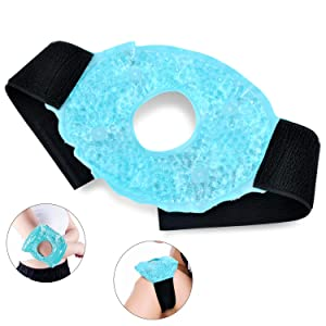 Hot/Cold Pack for Knee,Therapy Wrap Reusable Hot & Cold Gel Beads,Ice Knee Wrap with Soft Plush Backing for Sprains,Sports Injuries, Swelling, Muscle Pain, Bruises